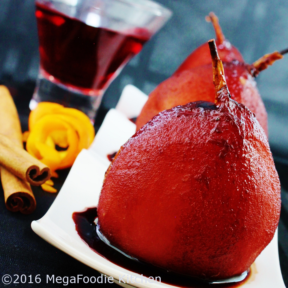 Poached pear, Dessert, Food Styling, Food Photography, Red Wine